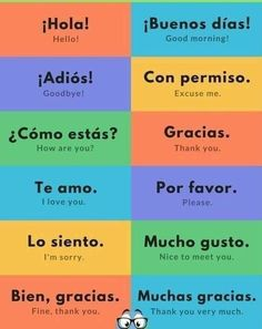 Teach English To Kids, English Activities For Kids, Learn To Speak Spanish, English Lessons For Kids, Spanish Lessons, Learn English, Useful Spanish Phrases, Spanish Words, English Phrases