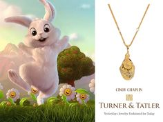 """So fitting for #Easter Sunday! Happy Easter!!  The 18kt yellow #gold hatching #chick with a #diamond #detail ribbon band and #emerald #eyes suspended from a custom 28"""" 14kt yellow gold fancy link chain.  #necklace #eastersunday #bunny #egg #holidaygift #shop #antique #vintage #jewelry #finejewelry #necklaceoftheday #style #fashion #victorianjewelry #spring #springfashion #goldnecklace #necklaceaddict #easteregg"""