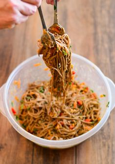 Soba Noodle Hummus Salad with Fresh Herbs, Red Pepper, and Carrots