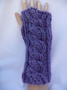 Chunky lavender cable knit wrist-warmers
