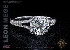 Split shank engagement ring featuring a 1.71 carat round diamond by Leon Megé