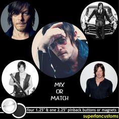 Norman Reedus Set Of 5 Pinback Buttons Or Magnets The Walking Dead Pins #1506