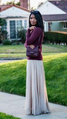 burgundy + neutral maxi skirt via @ downtown demure blog #modestfashion