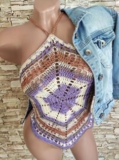 Crochet mandala crop top Summer festival bohemian / hippie | Etsy Bohemian Hippie Clothes, Hippie Outfits, Crochet Summer Tops, Crochet Crop Top, Crochet Toddler, Summer Crop Tops, Crop Top Bikini, Crochet Mandala, Top Pattern