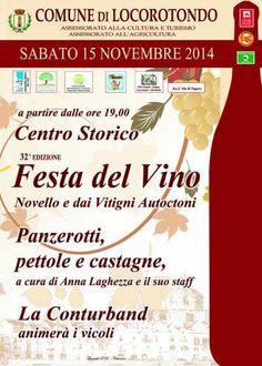 32^ Festa del Novello e dei Vini da Vitigni Autoctoni si svolgerà a partire dalle ore 19,00 sabato 15 novembre 2014 nel centro storico di Locorotondo.