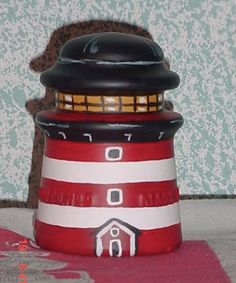 Assateague Lighthouse i-doll: handpainted glass insulator.