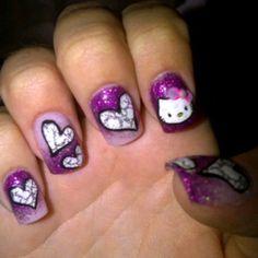 Purple hello kitty acrylic nails with hearts