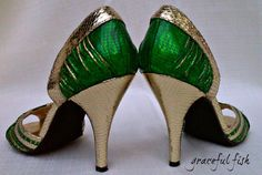 Gold and Green Open Toes Pumps by TheGracefulFish on Etsy