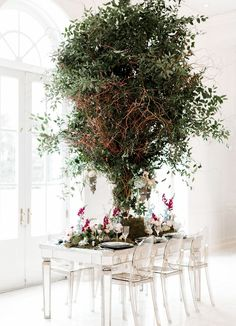 Modern Midsummer Wedding, crazy cool tree in the middle of the table!