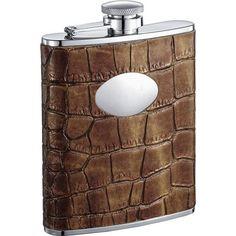 Visol Bronze Brown Crocodile Leather Hip Flask - 6 oz