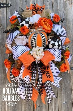 Excited to share this item from my #etsy shop: Fall Wreath, Halloween Wreath, Harvest Wreath, Mark Roberts Pumpkin Wreath, Fall Decor, Harvest Decor, Halloween Decor, Wreath
