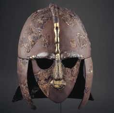 Sutton Hoo Helmet -BBC - Primary History - World History - The helmet was found at Sutton Hoo and is 1,300 years old. It was reconstructed from pieces found at a burial site. [© Trustees of the British Museum]