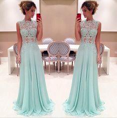 Evening Dress 2017 Chiffon Appliques Sheath Evening Dress