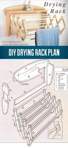 DIY How To Build a Drying Rack - A wall mounted drying Rack in 10 Easy Steps