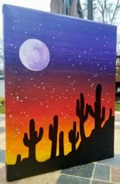Items similar to cacti sunset silhouette painting on etsy Simple Canvas Paintings, Easy Canvas Art, Small Canvas Art, Cute Paintings, Mini Canvas Art, Easy Canvas Painting, Sunset Painting Easy, Sunset Paintings, Cactus Painting