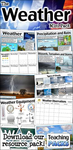 The Weather Pack - Resources for Teachers and Educators Science Curriculum, Science Resources, Teacher Resources, Activities, Thunderstorms, Statistics, Writing Prompts, Challenges, Packing