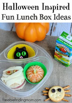 """Halloween Inspired Fun Lunch Box Ideas - Disguise your child's lunch as terrifying treats like a mummy sandwich, fruity """"pumpkin,"""" black cat cookie, and sweet and salty spider."""