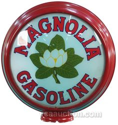 Advertising Globe for Magnolia Gasoline showing in the center a magnolia flower.