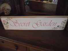 "HP Shabby Roses ""SECRET GARDEN"" Cottage Chic Primitive Wood Sign #ShabbyChic #RusticPrimitive"