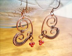 Wire Wrapped Heart Copper Earrings wire wrapped от GearsFactory