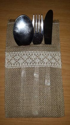 Hessian and lace cutlery holder. AND we sell HESSIAN #whatnot #hessian