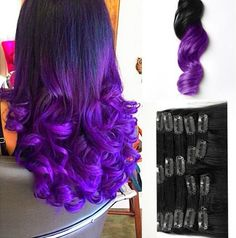 "New High Quality Two Tone 1B/Purple Ombre 7A 100% Real Virgin Remy Brazilian Loose Wave Clip In Human Hair Extensions All Hair Extensions in my shop can be customized to any hair extensions method including: Clip In's Tape In's Pre-Bonded Fusion Micro-Bead Weaving Wefts 100% human hair The color will last forever Life time more than 18 months Tangle free Shedding free The hair is very soft Healthy Bouncy Shine Holds the curl after wash Healthy end Full and thick No any split ends * ""Double…"