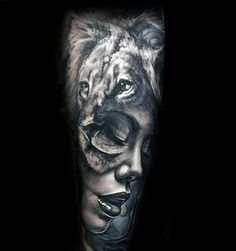 nice Tattoo Trends - Female Portrait With Lion Mens Forearm Sleeve Tattoo Design Ideas... Check more at http://tattooviral.com/tattoo-designs/tattoo-trends-female-portrait-with-lion-mens-forearm-sleeve-tattoo-design-ideas/