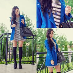 Love this outfit | Classic coat, striped dress, thigh highs