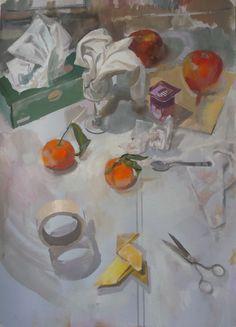 Mandarinas con pajarita sobre una mesa, 2017. Salvador Caro. Pastel y gouache sobre papel.
