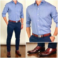 Monday Blues Here's an early fall edition of the Monday blues featuring these absolutely stunning oxblood dress shoes along with this leaf print light flannel dress shirt❗️ Do you like this outfit❓ Shoes: Brando Semi Brogue in Oxblood Belt: Shirt: Chinos: Smart Casual Men, Business Casual Outfits, Stylish Men, Oxblood Shoes Men, Chinos Men Outfit, Formal Men Outfit, Semi Formal Outfits, Dress Casual, Men Casual