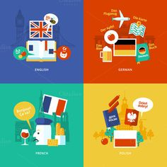 Check out Flat Languages Lessons Icons by painterr on Creative Market