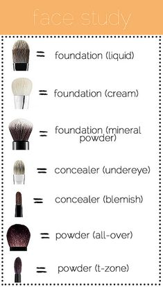 Make up brush guide | Hmm, ... seriously I need someone who does my makeup. I just got 2 brushes, one for powder, the other one for foundation. And I can't even do my eye makeup unless I want to go out like a clown (I hate clowns, they really scare the shit out of me). How am I supposed to keep an overview about all the brushes? :D
