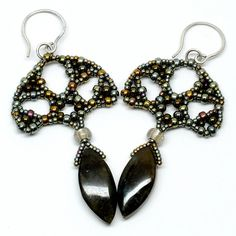 Deco Lotus Earrings by Gwen Fisher - Featured in Beadwork Oct/Nov 2009, page 52