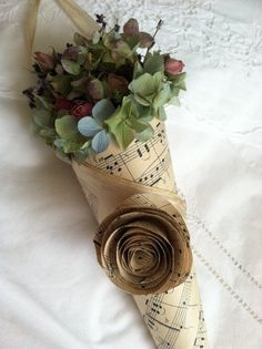 flowers wrapped in music