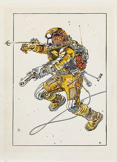 (2) Vintage original spacesuit sketches by Moebius - by Profiles in History