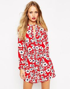 Image 1 of ASOS Romper in Red Poppy Print with Keyhole