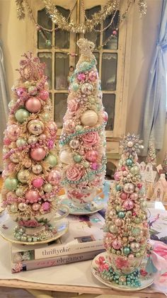 Bottle Brush Tree in a Vintage Teacup- Shabby PinK RoSeS, Mint, Vintage Pearls, Rhinestones Retro Christmas, Christmas Holidays, Christmas Crafts, Pink Christmas Tree, Christmas Christmas, Xmas, Rose Gold Christmas Decorations, Holiday Decor, Shabby Chic Christmas Ornaments