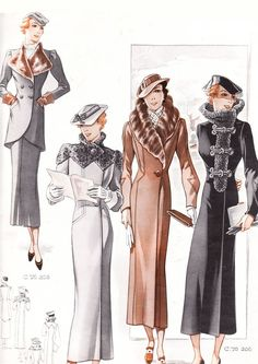 These are a few illustrated examples of coat designs from the 1930's. There was a lot of emphasis placed on making the coats more extravagant with fur.
