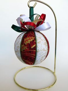 Christmas Ornament -  Red with Gold Holly and White with Gold Glitter by OrnamentDesigns on Etsy