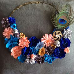 Mixed Flower Necklace with metal brooch 30 $ USD Artfabricflowers- Instagram  Artfabricflowers by Aleymy - YouTube channel