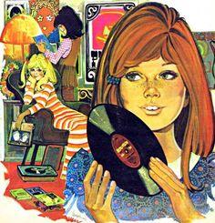 Illustration by Purita Campos, 1970 (Super Seventies) Retro Kunst, Retro Art, Comics Vintage, Vintage Art, Vintage Toys, Art Pop, Art And Illustration, Photoshop, Rock And Roll