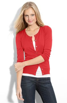 I love this sweater and tank idea, but these colors look patriotic to me. A labor day outfit maybe?
