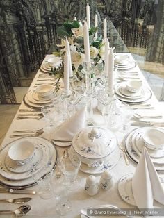 Сервировка стола Dining Room Table Decor, Shades Of White, Tablescapes, Table Settings, Shabby Chic, Table Decorations, Dreams, Home Decor, Spring