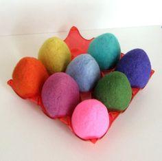 Easter 8 Eggs  Wool Felted   Home Decor  Needle Felt by FeltVille, $44.00