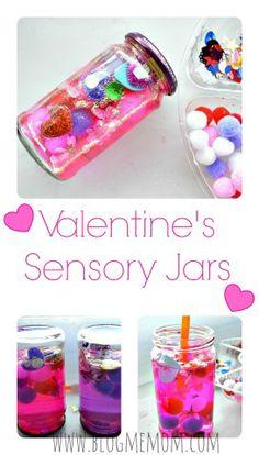 Kid Made Valentine's Sensory Jars from Blog Me Mom