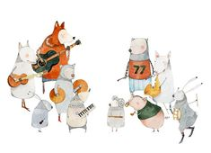 Animal Band Practice Print band of animals with musical