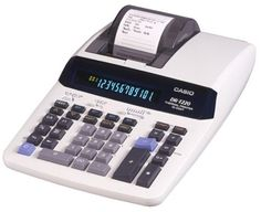 Casio DR-T220 Desktop Calculator with Thermal Printer and Large Display by Casio. $70.52. Amazon.com                The Casio DR-T220 calculator is a quiet one-color thermal printing model that fits  well in busy offices. It has a 12-digit Digitron display and prints an impressive eight lines per second. In addition to the expected standard operations, the DR-T220 offers memory printing and includes an independent add register; you can also round results up or down to a selecte...