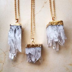 This splendid gold-dipped quartz necklace.   26 Enchanting Gemstone Accessories You Must Buy
