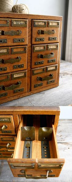 A ship;s card catalog - a beautiful old card catalog, made from hardwood with fantastic original hardware.