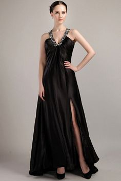 V-Neck Classic Black Party Gowns - Order Link: http://www.theweddingdresses.com/v-neck-classic-black-party-gowns-twdn1693.html - Embellishments: Beading , Crystal , Ruched; Length: Sweep/Brush Train; Fabric: Chiffon; Waist: Empire - Price: 160.27USD
